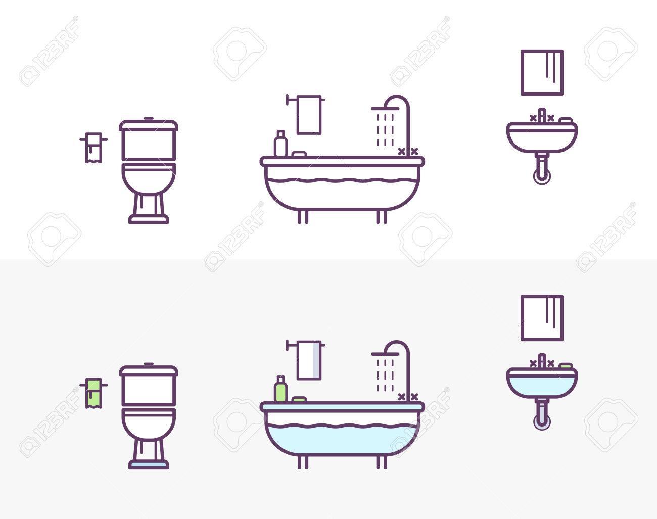 Dessin Salle De Bain icônes de salle de bain dans le style du dessin au trait. toilettes,  baignoire, douche, lavabo