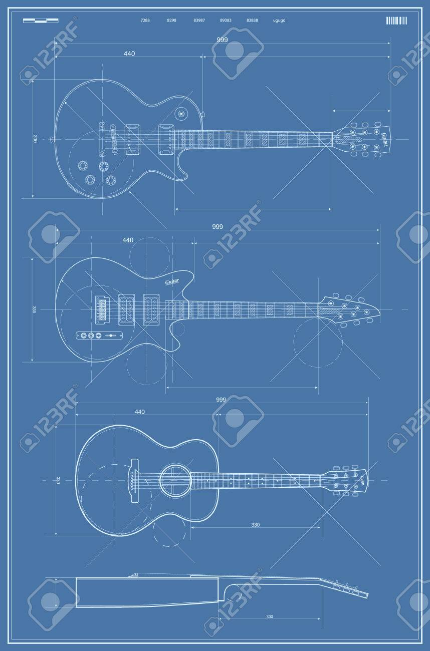 Vector blueprint with electric and acoustic guitar royalty free vector vector blueprint with electric and acoustic guitar malvernweather Gallery
