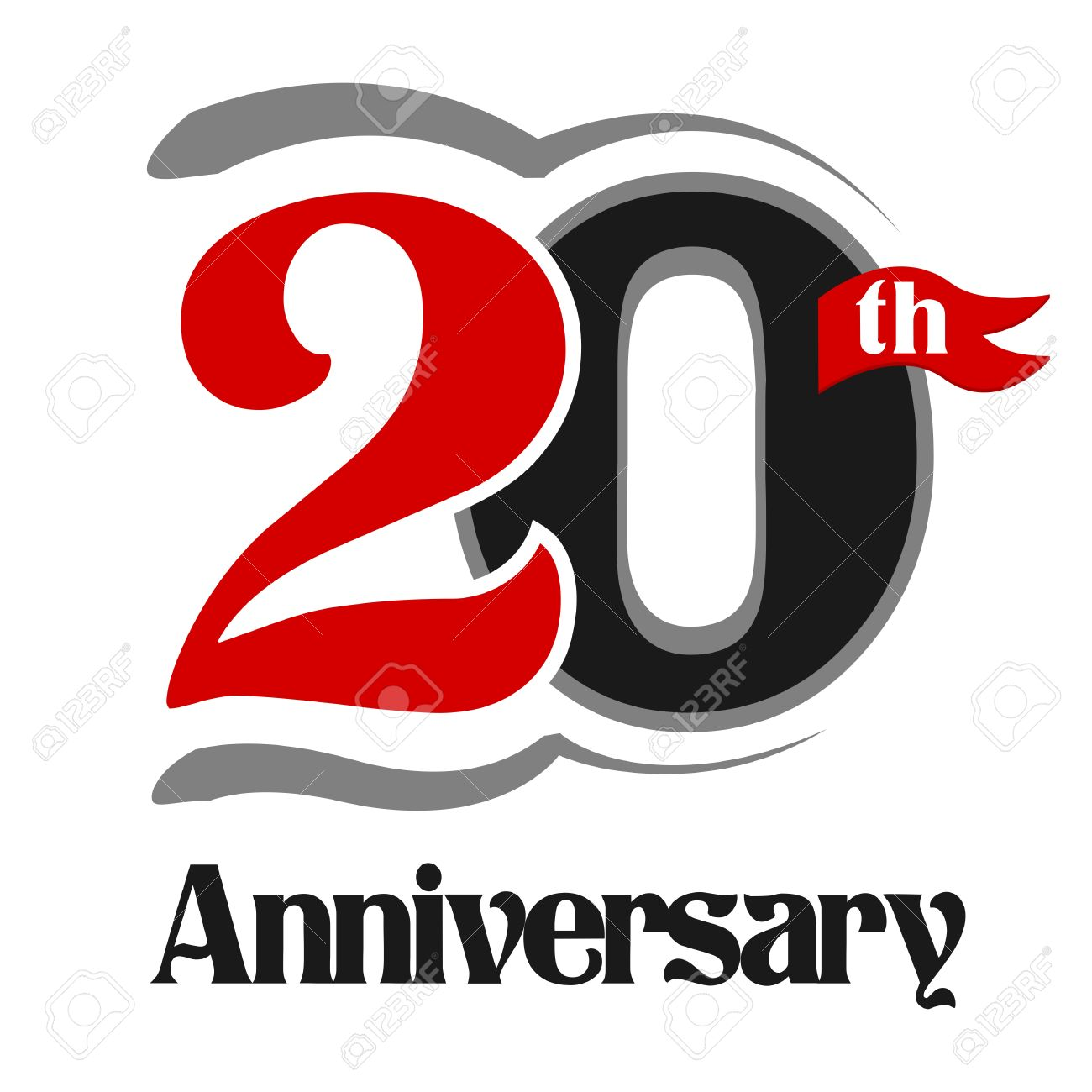 20th anniversary celebration vector logo design royalty free