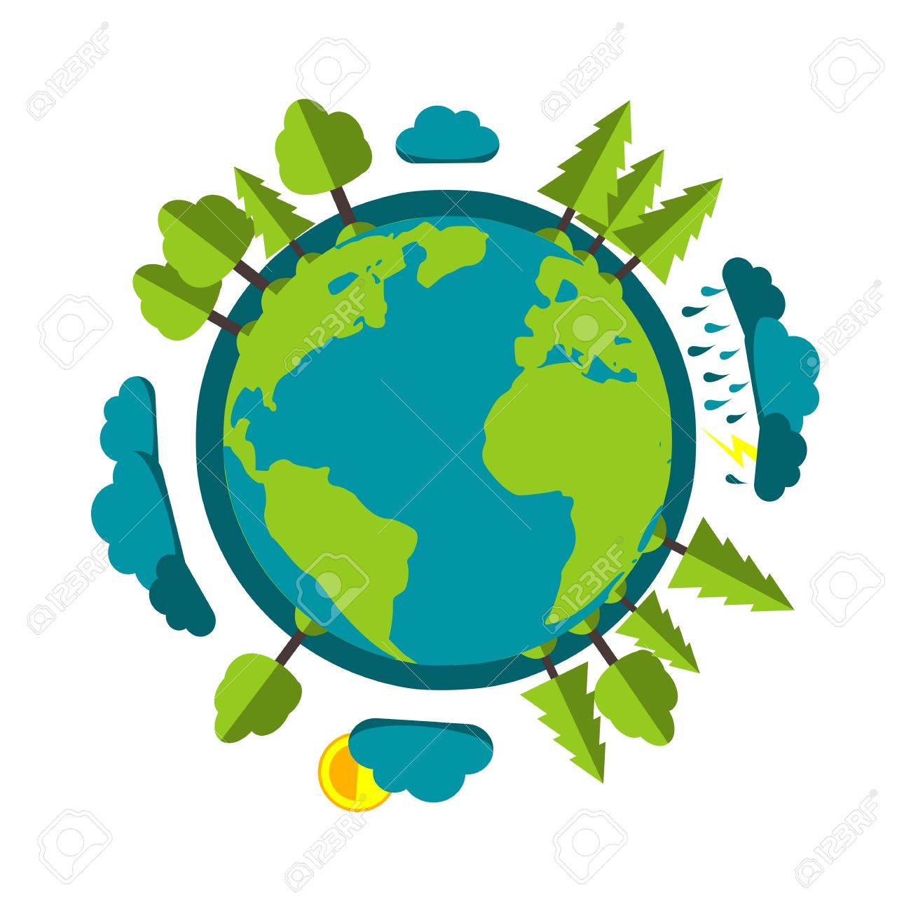 planet earth cartoon style with rain clouds sun and green nature rh 123rf com earth science cartoon images earth cartoon pictures