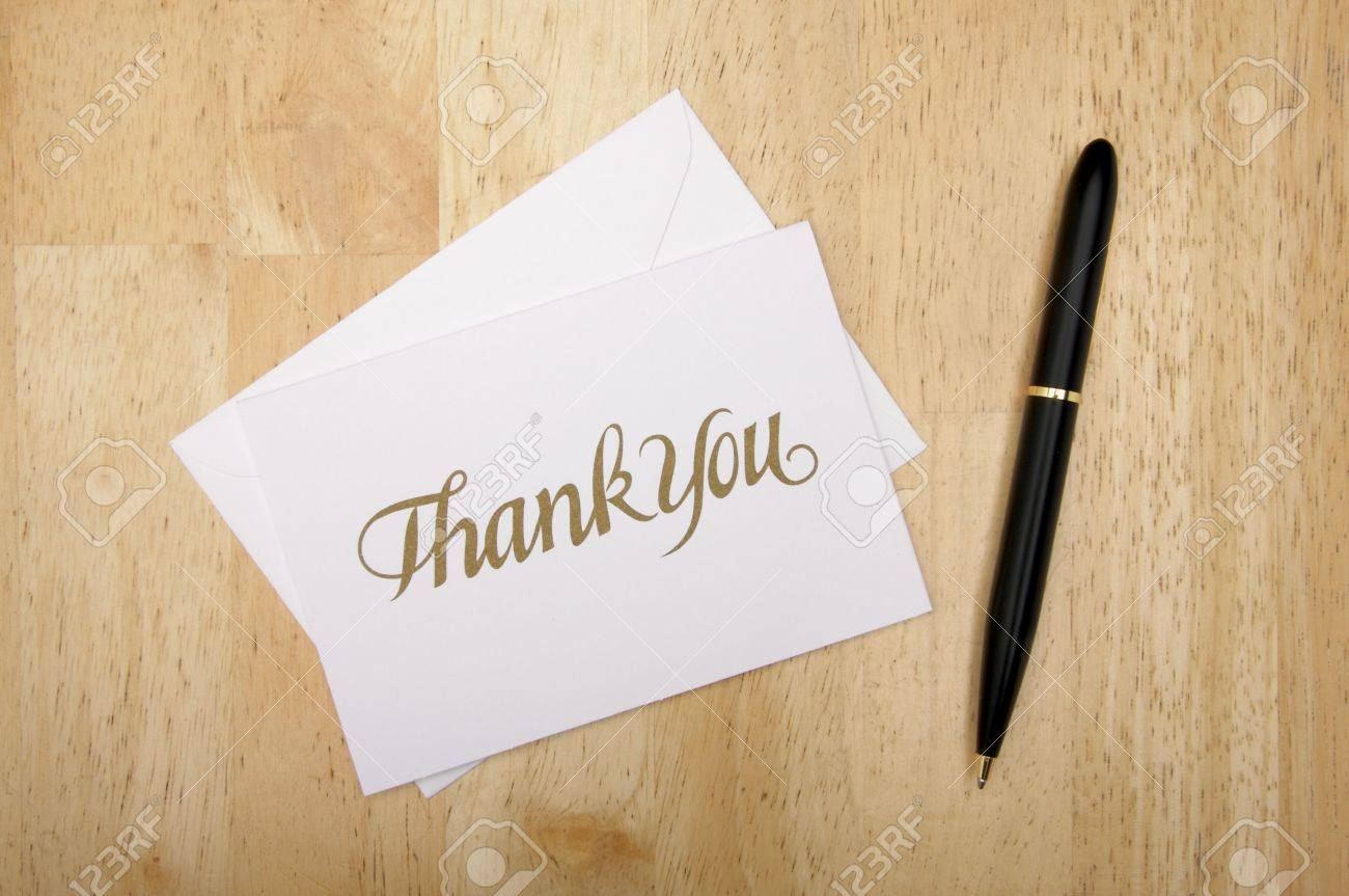 thank you note card and pen on wood background stock photo stock photo thank you note card and pen on wood background