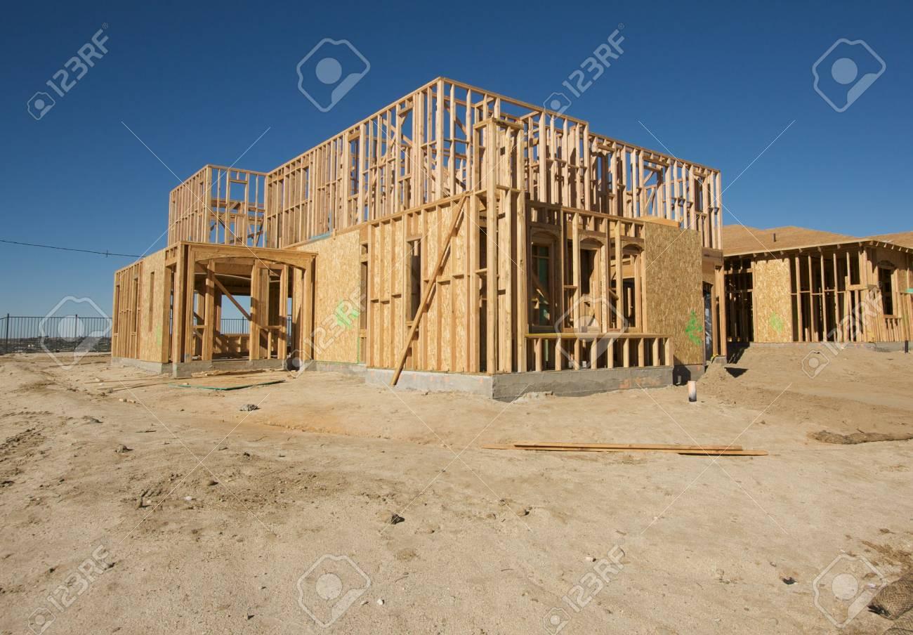 New Home Construction Site against a deep blue sky. Stock Photo - 2530934