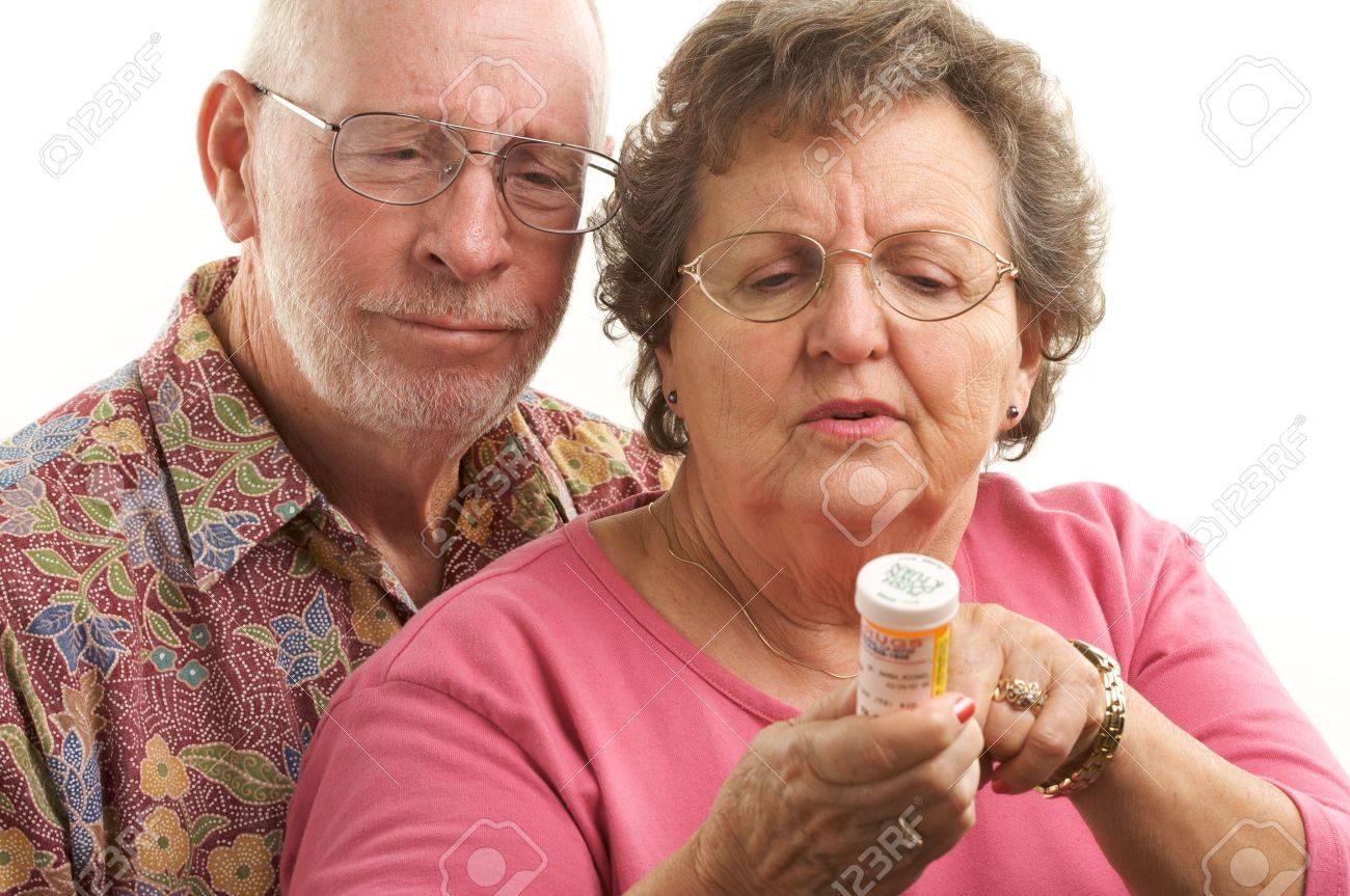 Senior Couple reads a prescription bottle. Stock Photo - 2866879