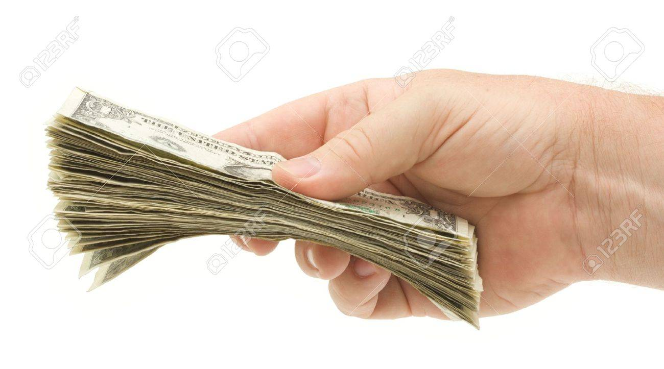 Handing Over Money Isolated on a White Background. Stock Photo - 3239953