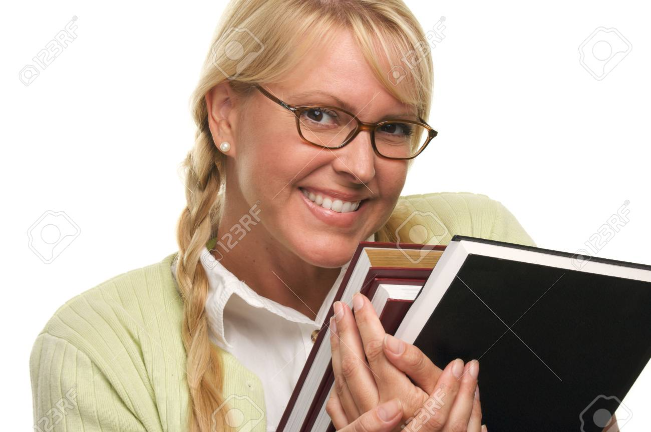 Attractive Student Carrying Her Books Isolated on a White Background. Stock Photo - 3308762