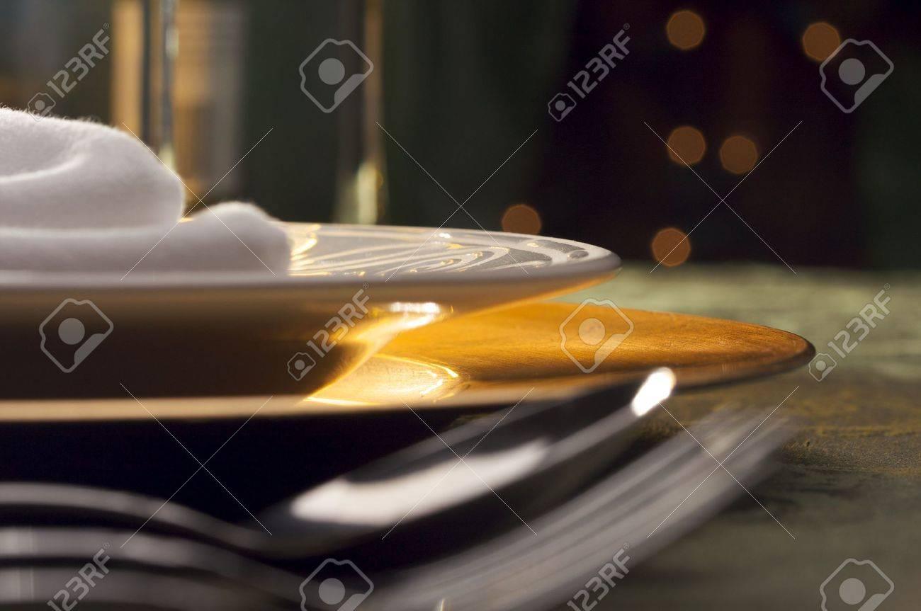Elegant Dinner Setting Abstract Macro Background Stock Photo - 4017448