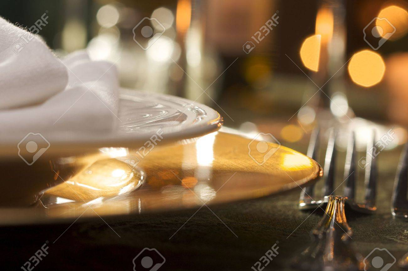 Dinner Setting elegant dinner setting abstract macro background stock photo