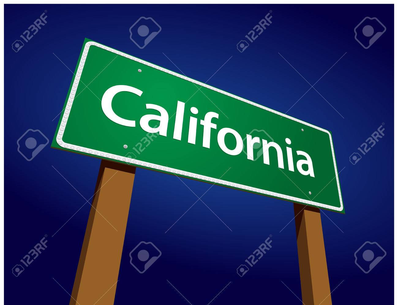 California Green Road Sign Illustration on a Radiant Blue Background. Stock Vector - 5288883
