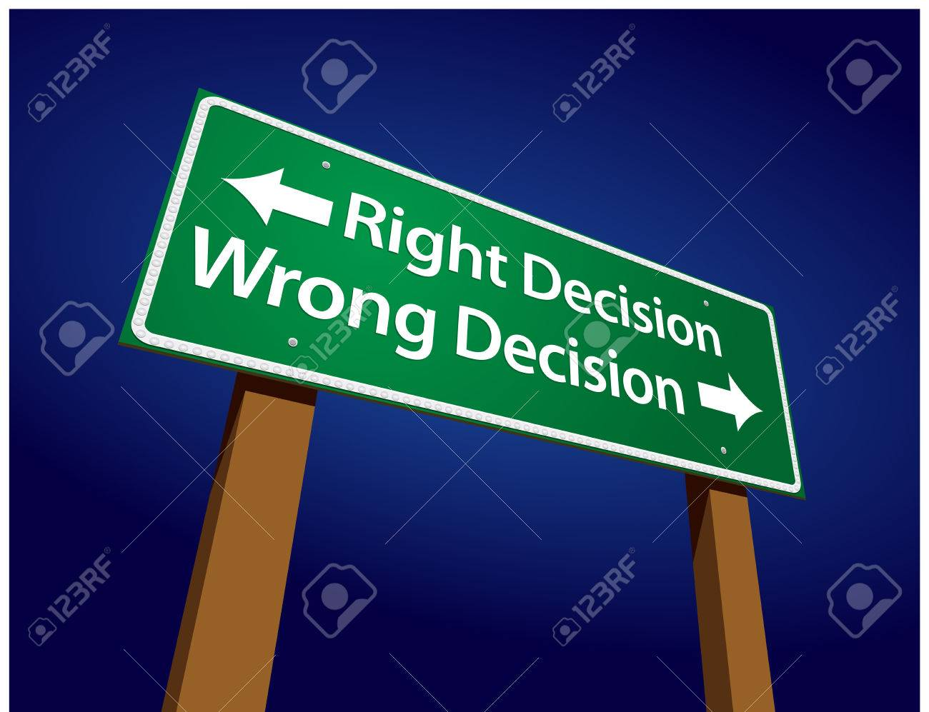 Right Decision, Wrong Decision Green Road Sign Illustration on a Radiant Blue Background. Stock Vector - 5308198