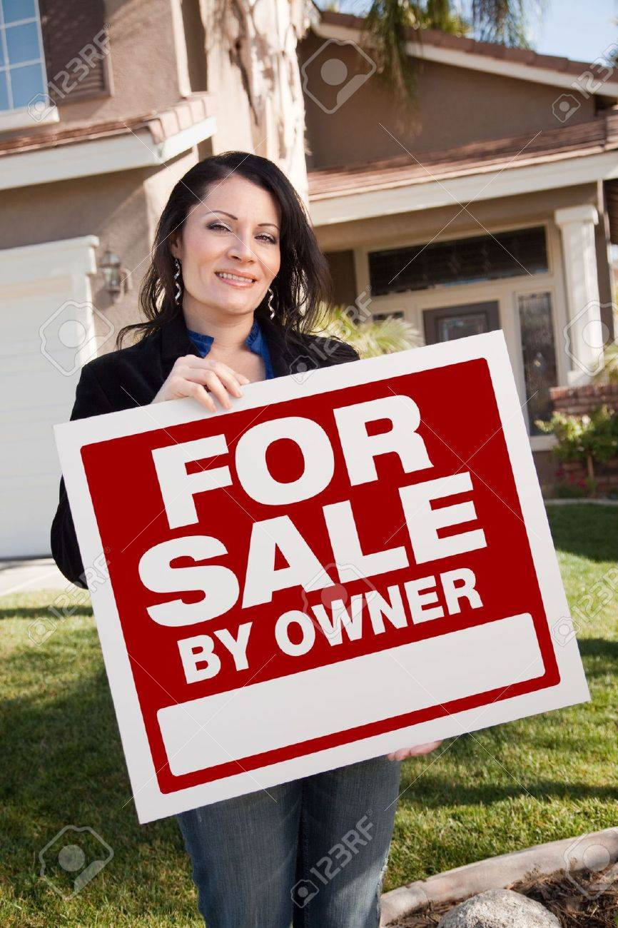 Real estate for sale by owner - Happy Attractive Hispanic Woman Holding For Sale By Owner Real Estate Sign In Front Of House