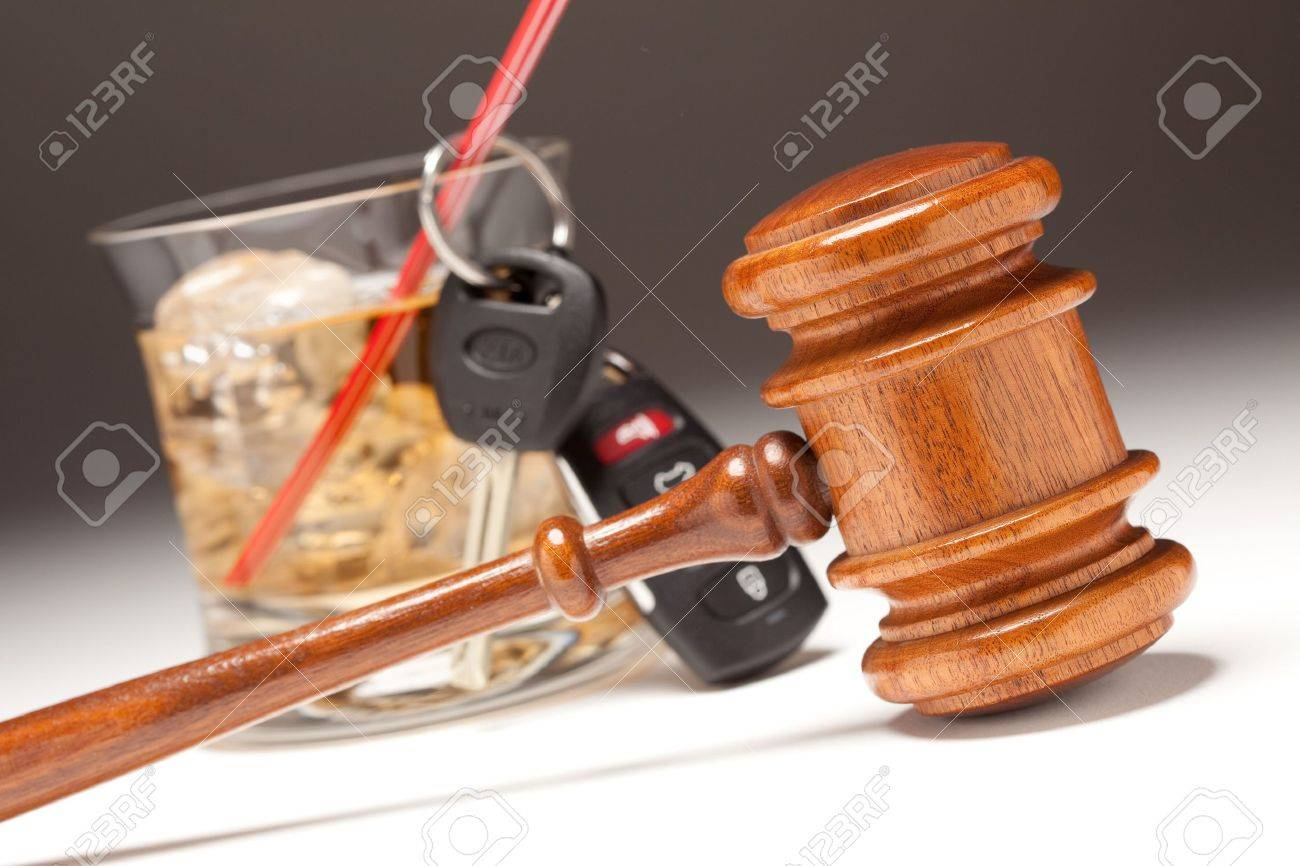 Gavel, Alcoholic Drink & Car Keys on a Gradated Background - Drinking and Driving Concept. Stock Photo - 6342526