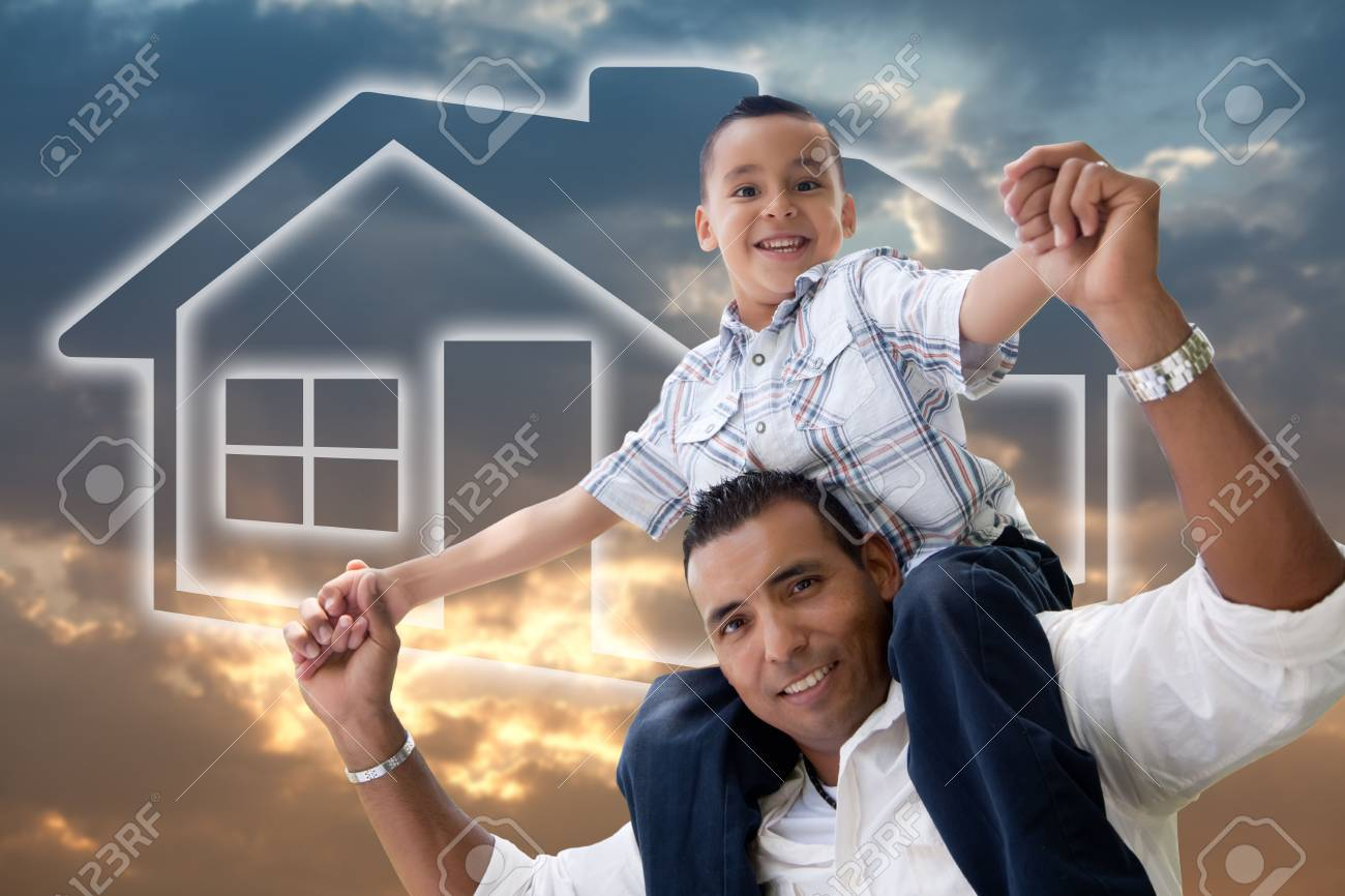 Happy Hispanic Father and Son Over Clouds, Sky and House Icon. Stock Photo - 6810890