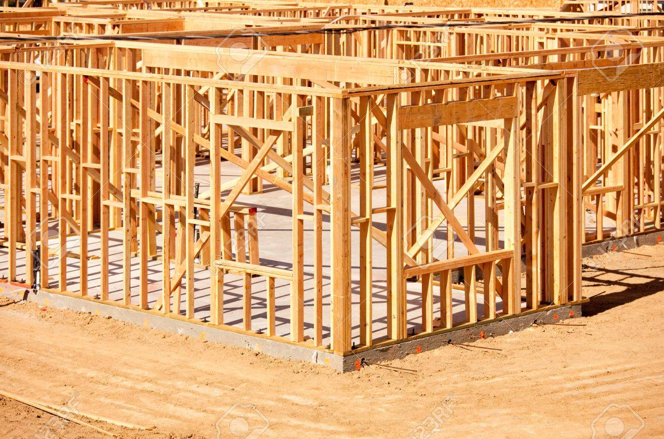 new residential home construction framing site just before the roofing phase stock photo 6971228