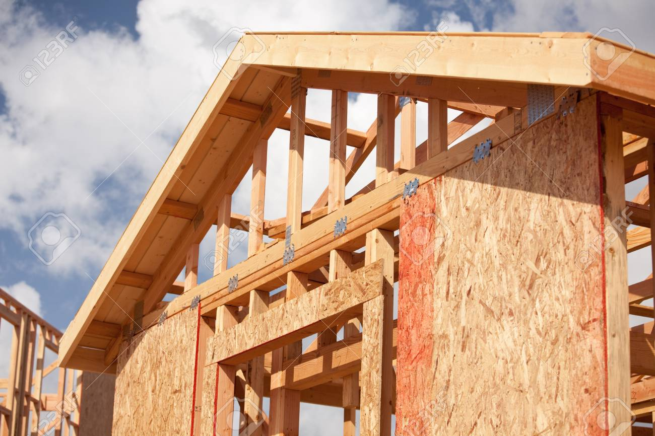 Abstract of New Home Construction Site Framing. Stock Photo - 7057597