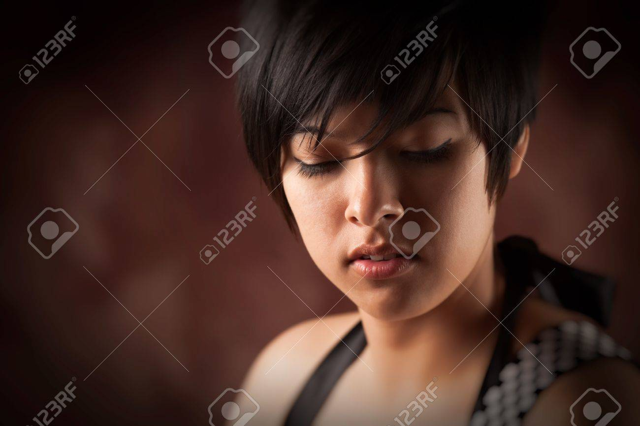 Pretty Smiling Multiethnic Young Adult Woman Portrait with Selective Focus. Stock Photo - 7114638