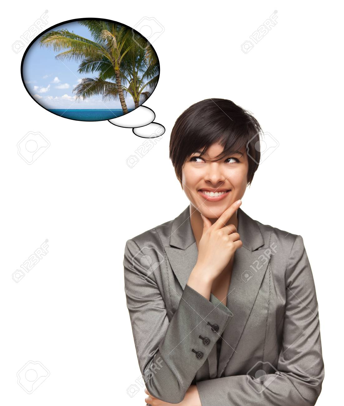 Beautiful Multiethnic Woman with Thought Bubbles of a Tropical Place Isolated on a White Background. Stock Photo - 7872983