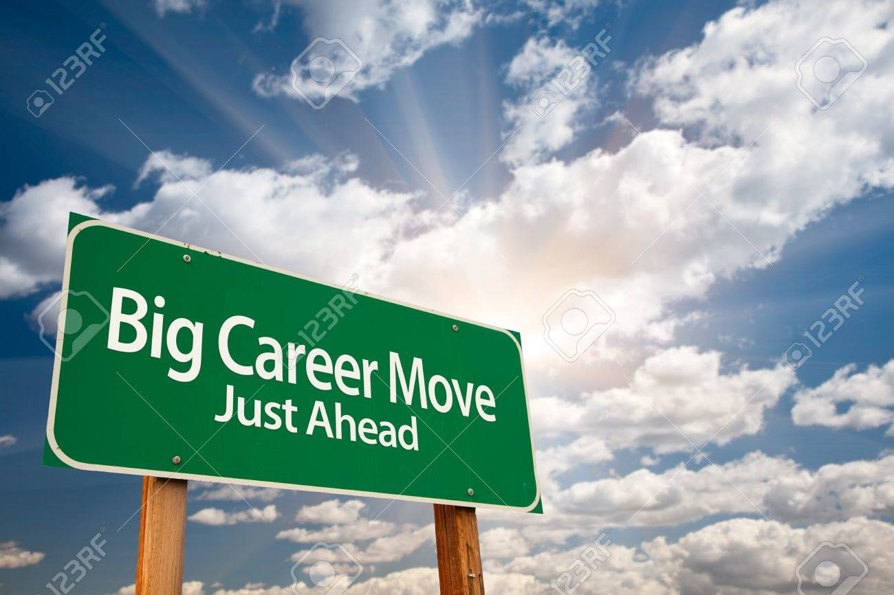 big career move green road sign dramatic clouds sun rays big career move green road sign dramatic clouds sun rays and sky stock