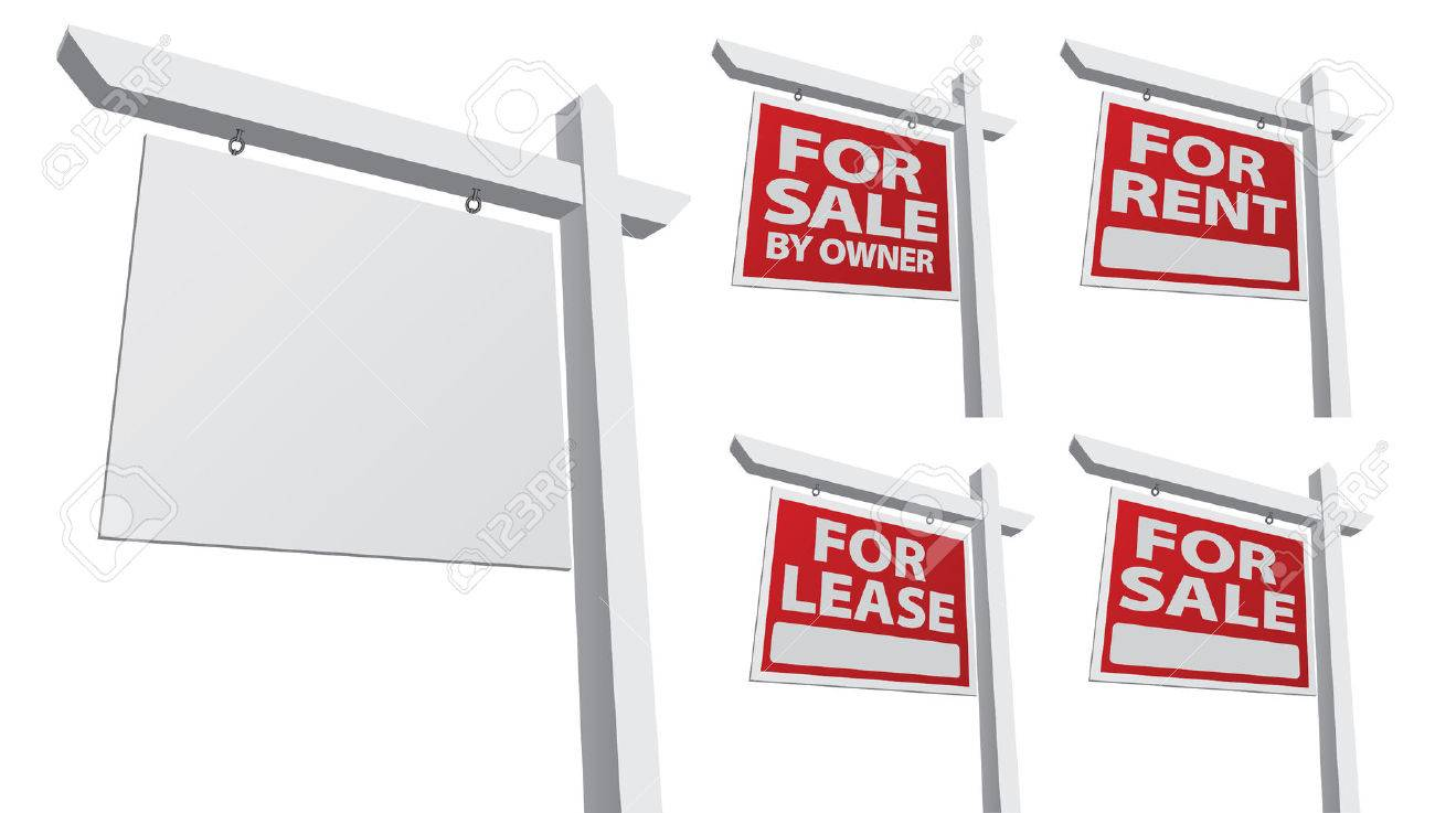 Real estate for sale by owner - Set Of Various Real Estate Signs Blank For Sale By Owner For Sale