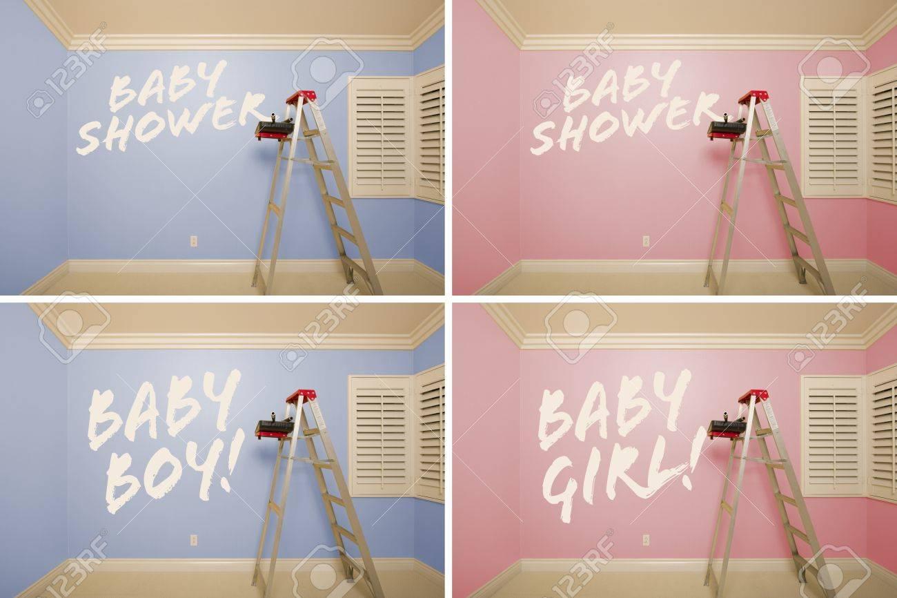 Série maternité de rose et bleu vides chambres avec échelle et ...