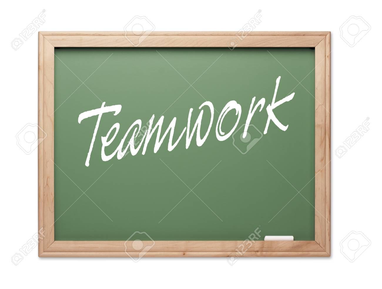 Teamwork Green Chalk Board Series on a White Background. Stock Photo - 10594897