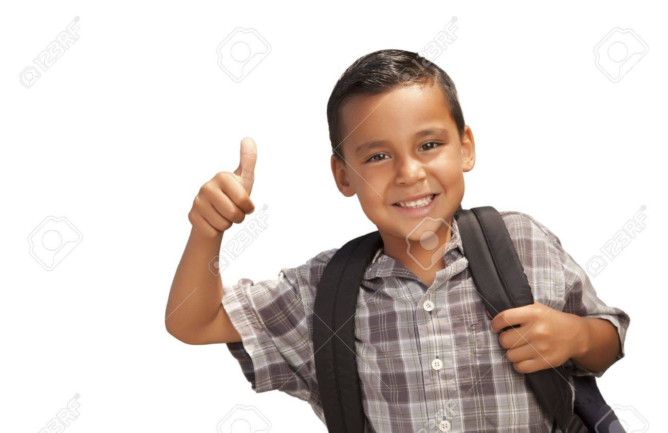 Happy Young Hispanic School Boy with Thumbs Up and Backpack Ready for School Isolated on a White Background. Stock Photo - 10664059