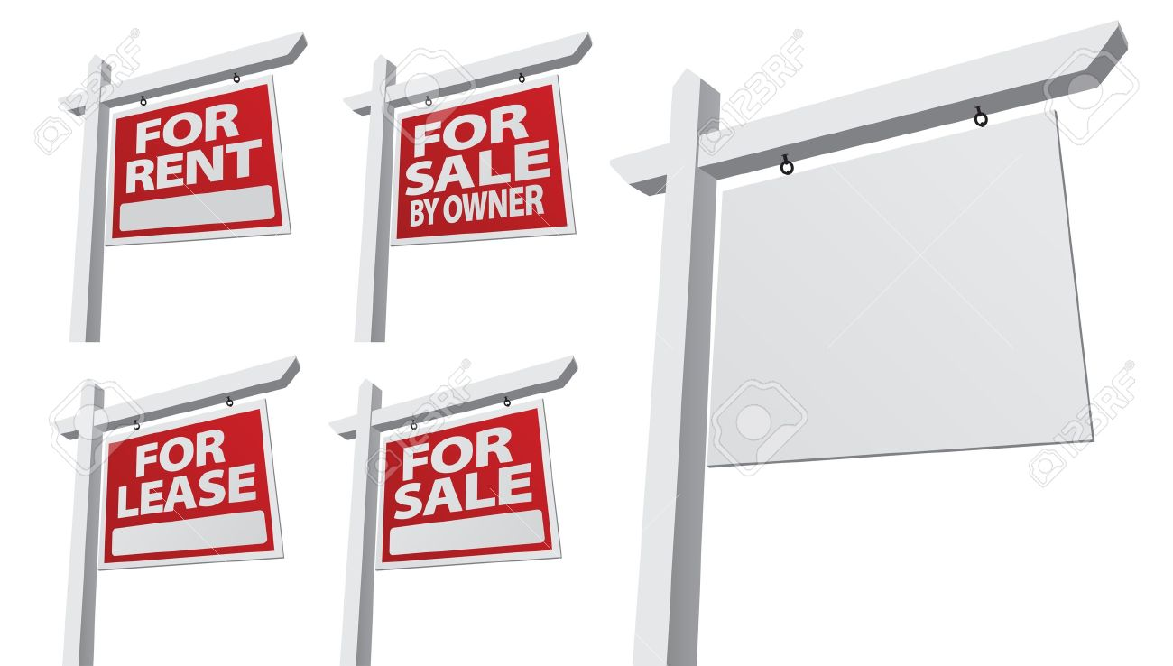 Real estate for sale by owner - Set Of Various Right Facing Vector Real Estate Signs Blank For Sale By Owner