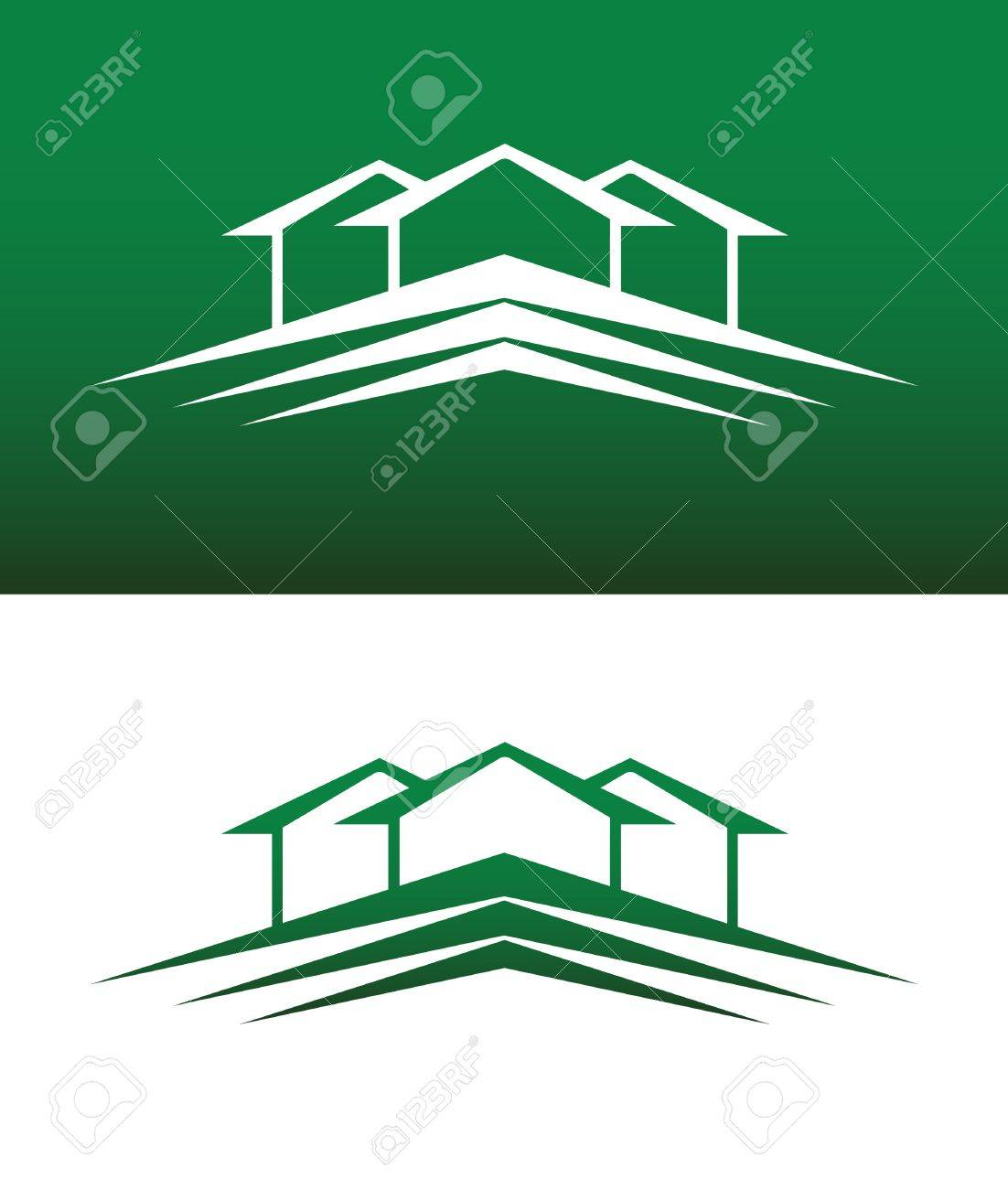 Abstract House Icon. Both Solid and Reversed Background. Stock Vector - 15013497