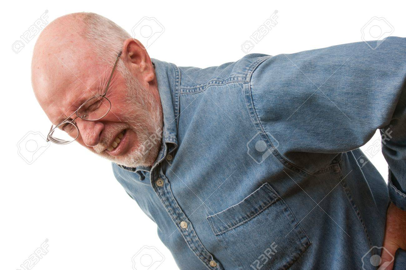 Agonizing Senior Man with Hurting Back on a White Background. Stock Photo - 16716867