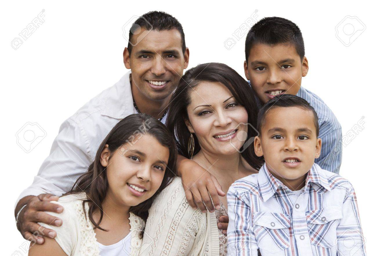 Happy Attractive Hispanic Family Portrait Isolated on a White Background. Stock Photo - 17278073