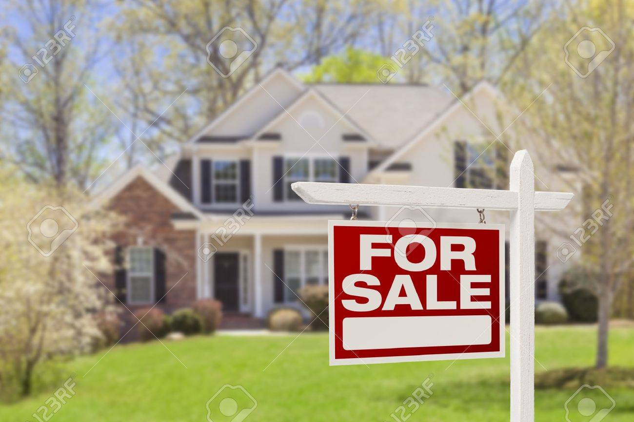 Home For Sale Real Estate Sign and Beautiful New House. Stock Photo - 19311145