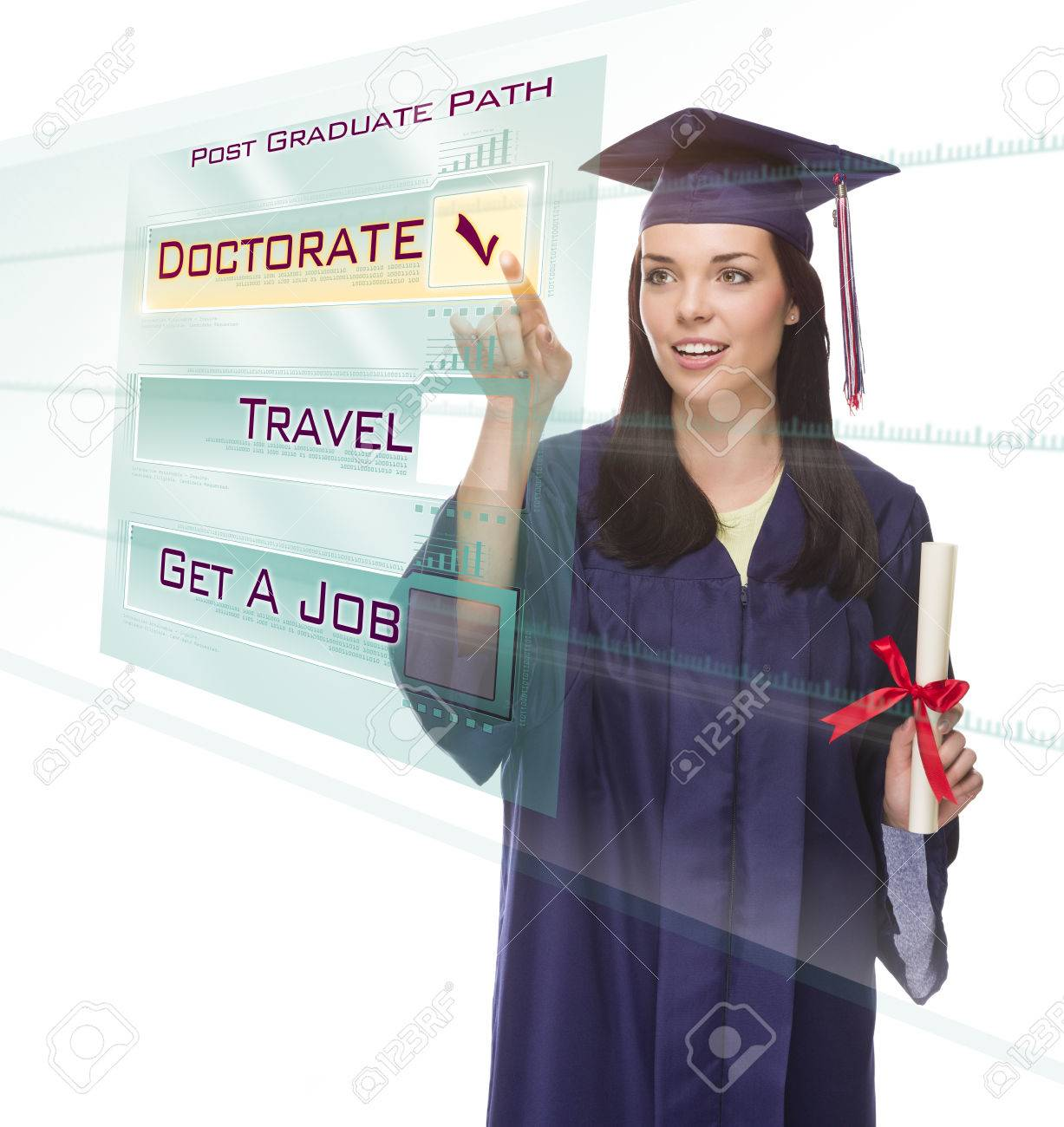 Attractive Young Mixed Race Female Graduate In Cap And Gown Choosing ...