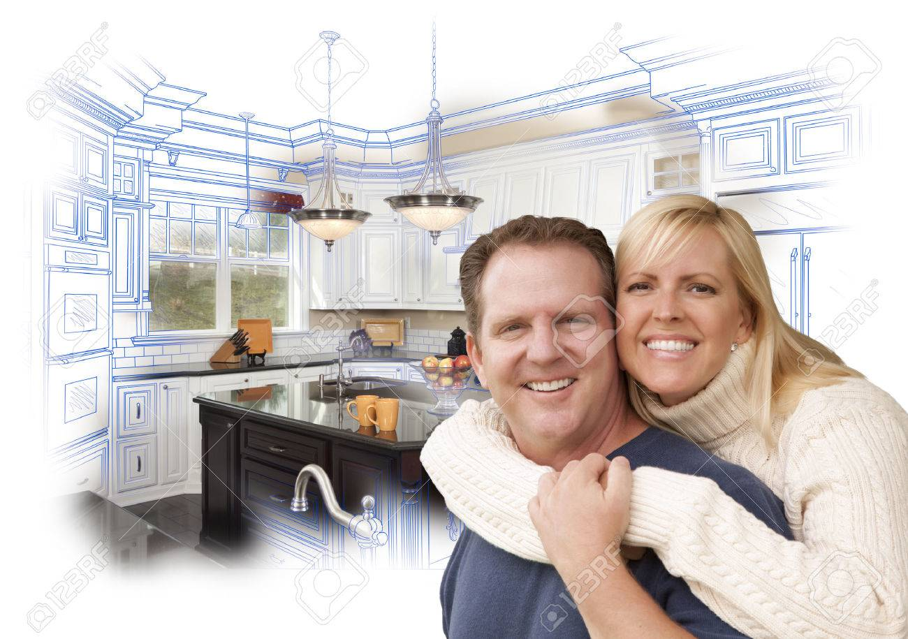 Happy Couple Hugging with Custom Kitchen Drawing and Photo Behind on White   Stock Photo. Happy Couple Hugging With Custom Kitchen Drawing And Photo Behind