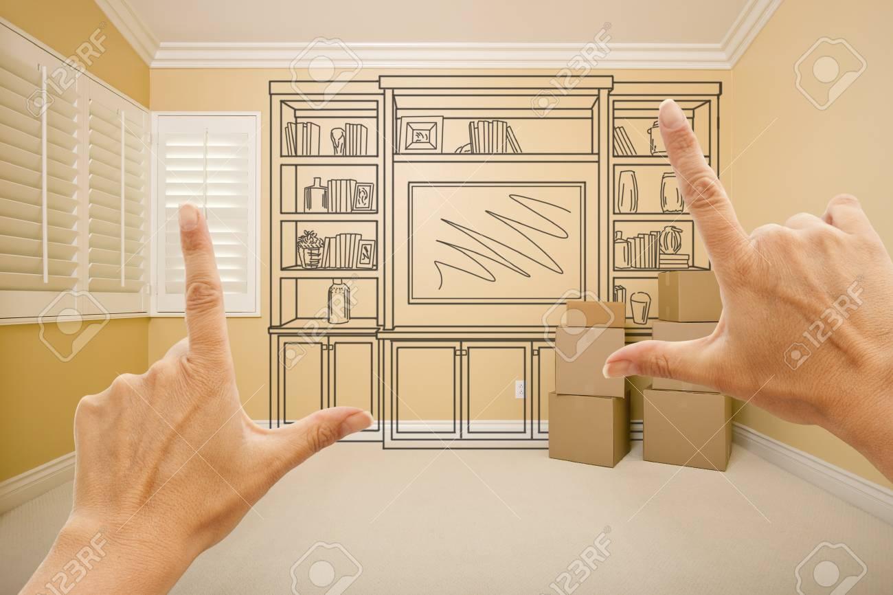 Enmarcando Manos De Shelf Diseño Dibujo En La Pared En Sitio Vacío ...