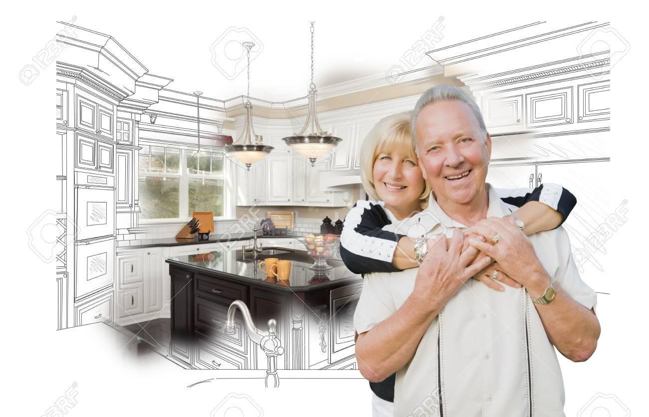 bonne étreignant senior couple cours de cuisine design dessin et ... - Cours De Cuisine En Couple