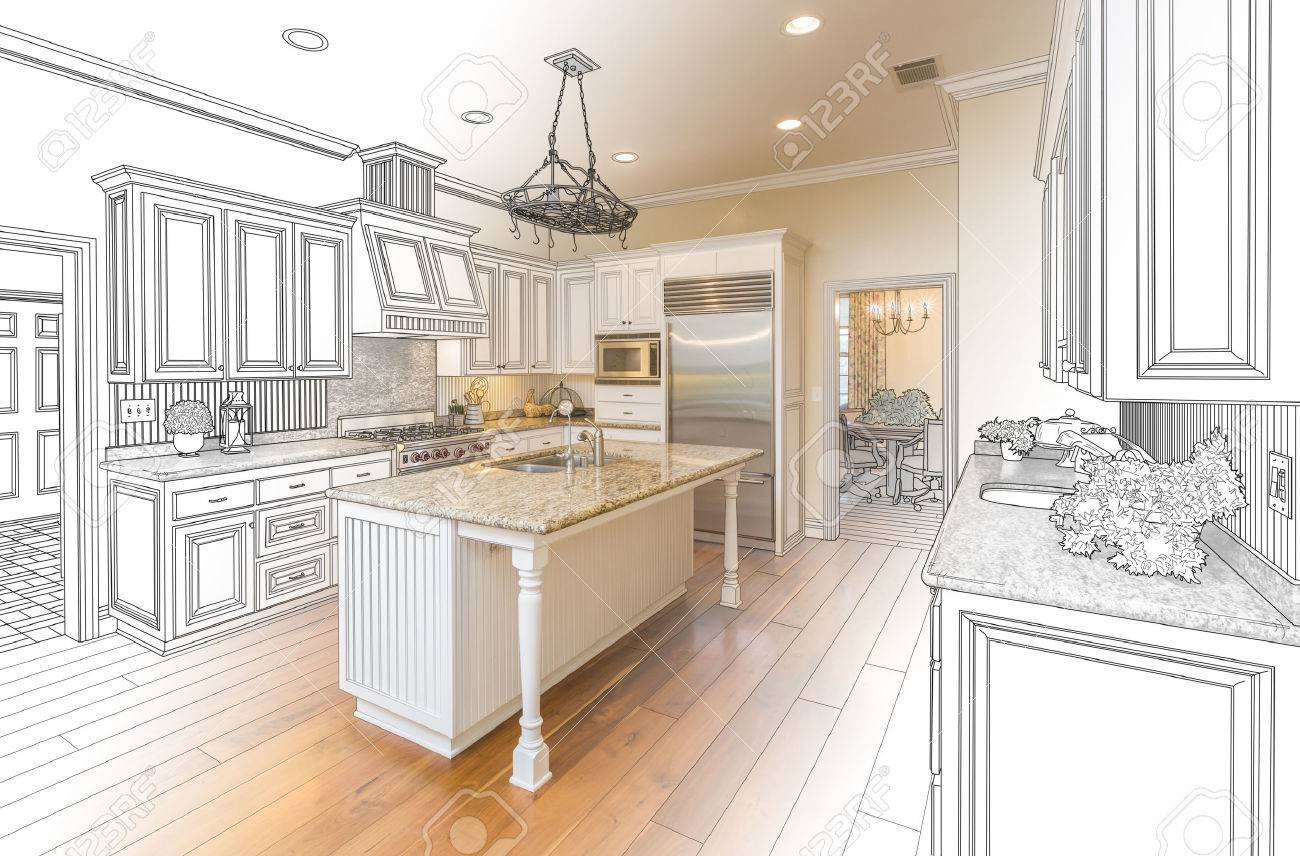 Beautiful Custom Kitchen Design Drawing And Gradated Photo