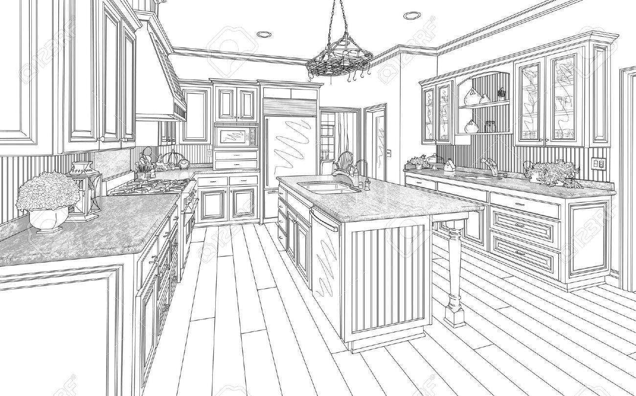 Beautiful Custom Kitchen Design Drawing In Black On White