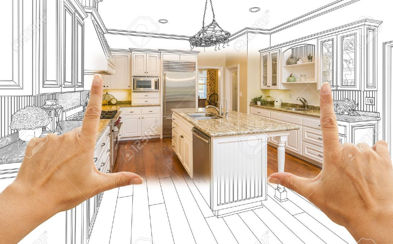 Female Hands Framing Custom Kitchen Design Drawing And Square