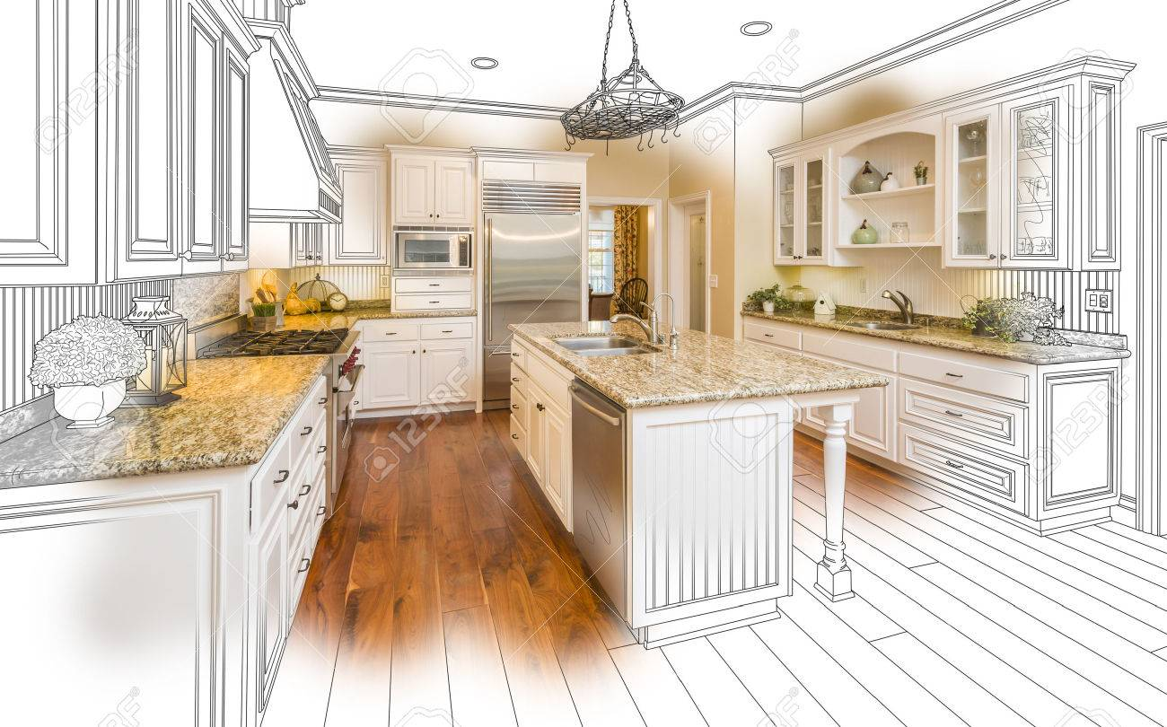 Beautiful Custom Kitchen Design Drawing And Brushed In Photo Combination.  Stock Photo   51038653