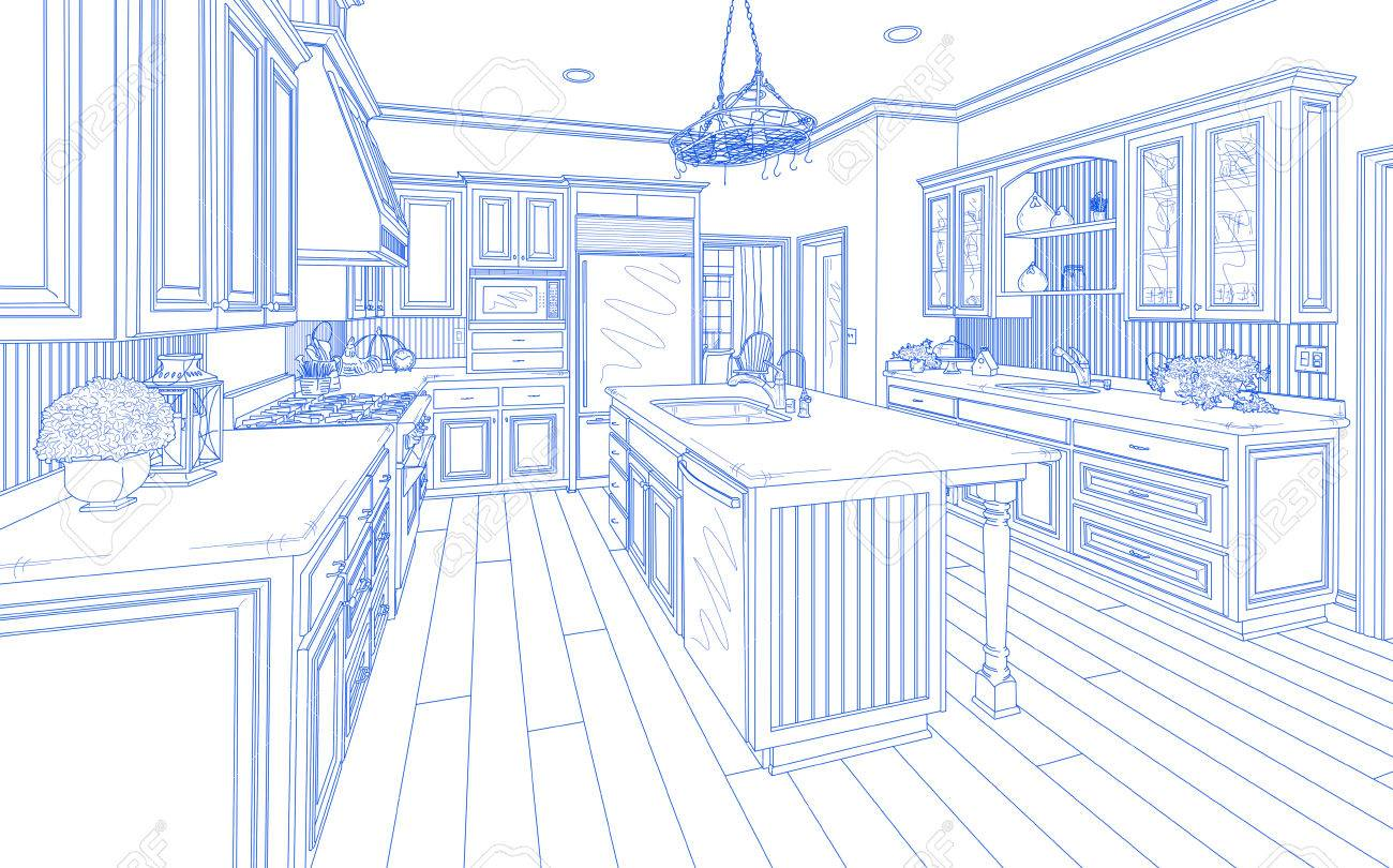 Beautiful Custom Kitchen Design Drawing In Blue On White. Stock Photo    51038654