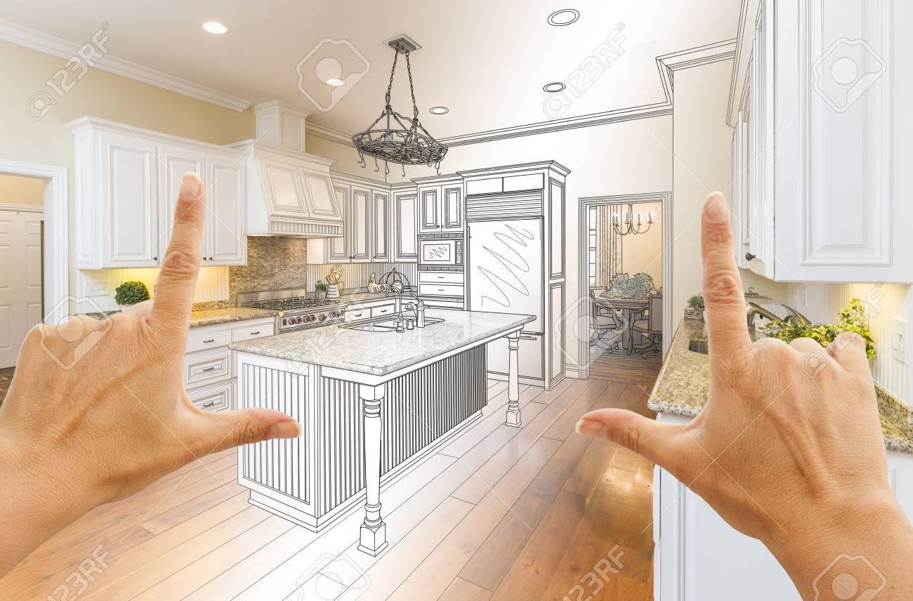 Weibliche Hände Framing Gradated Custom Kitchen Design Zeichnung Und ...