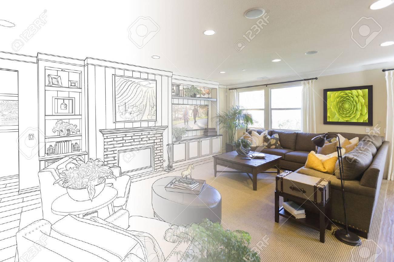 Custom Living Room Drawing Gradation Into Photograph Stock Photo