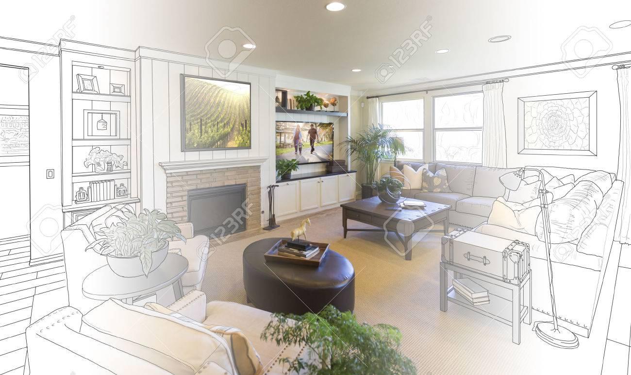 Custom Living Room Drawing Gradation Into Photograph. Stock Photo ...