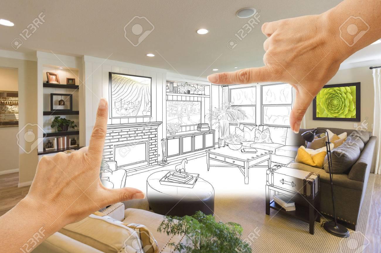 Weibliche Hände Rahmung Individuelle Wohnzimmer Zeichnung Fotografie ...