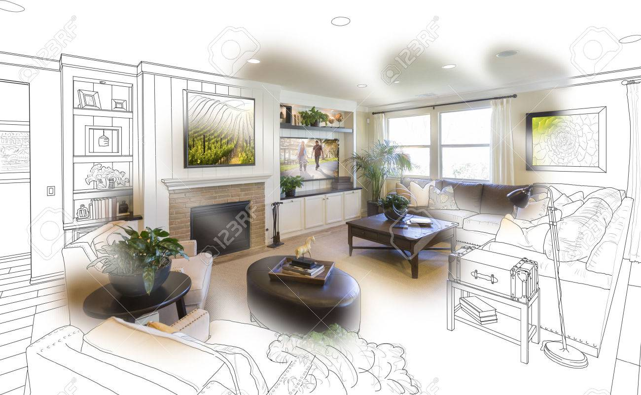 Living room drawing design - Custom Living Room Drawing Brush Stoke Gradation Into Photograph Stock Photo 55787490