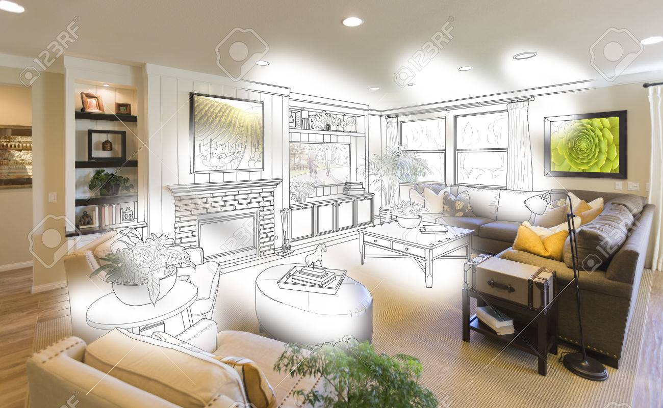 Custom Living Room Drawing Brush Stoke Gradation Into Photograph Stock Photo