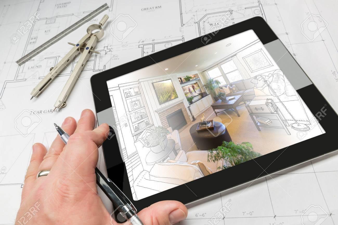 Hand Der Architekt Auf Computer Tablet Anzeigen Wohnzimmer ...