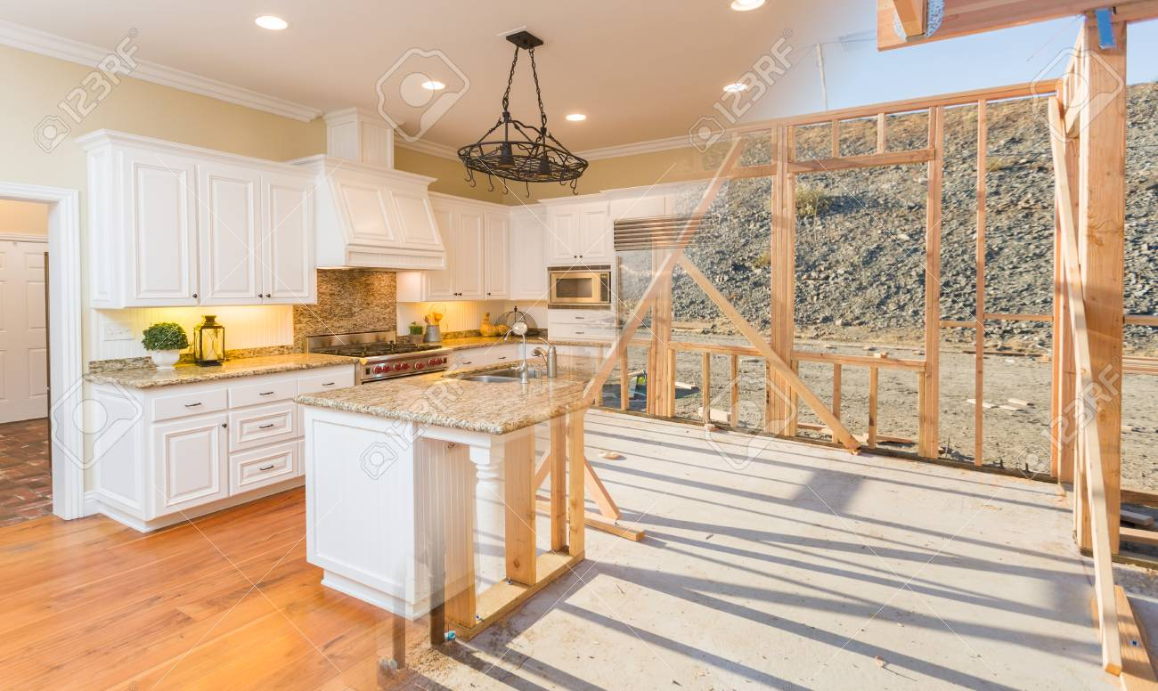 Transition of Beautiful New Home Kitchen From Framing To Completion. - 80182288