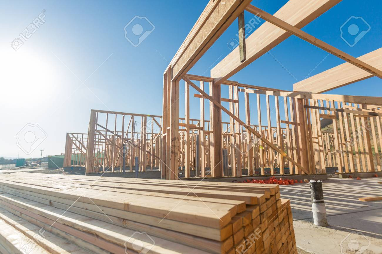 Wood Home Framing Abstract At Construction Site. - 80182274