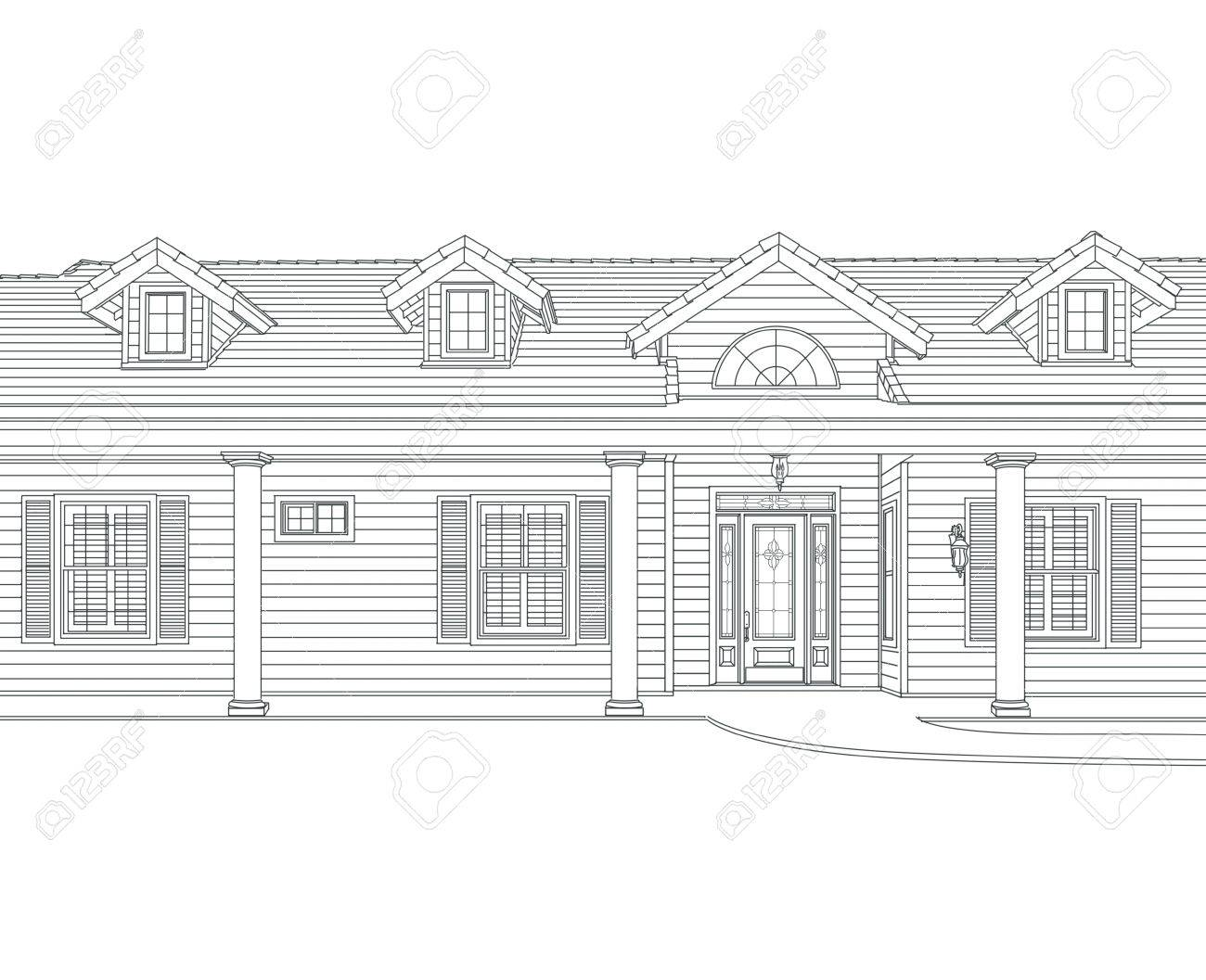 custom black pencil house drawing on white background