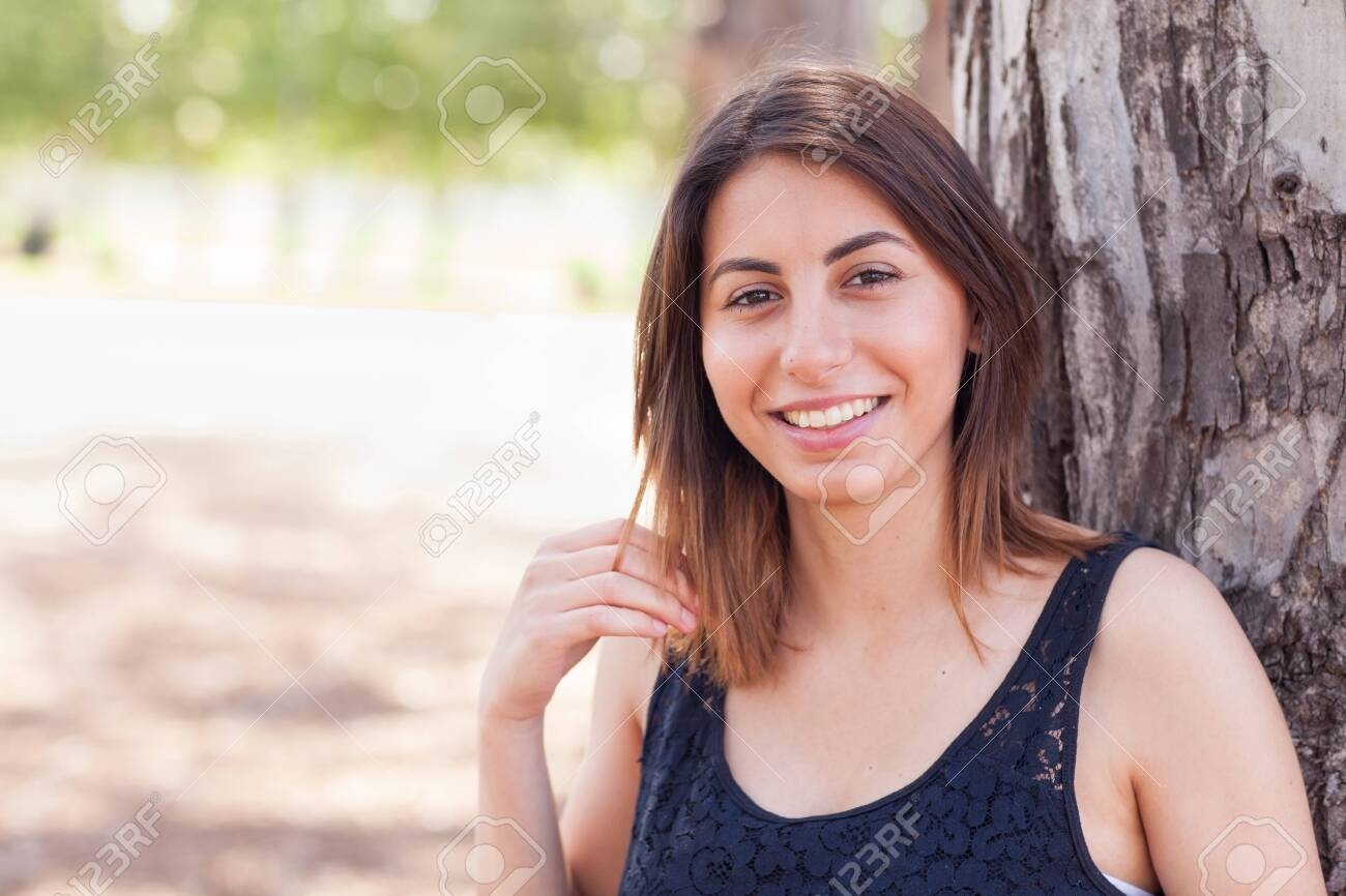 Beautiful Young Ethnic Woman Portrait Outside. - 121426473